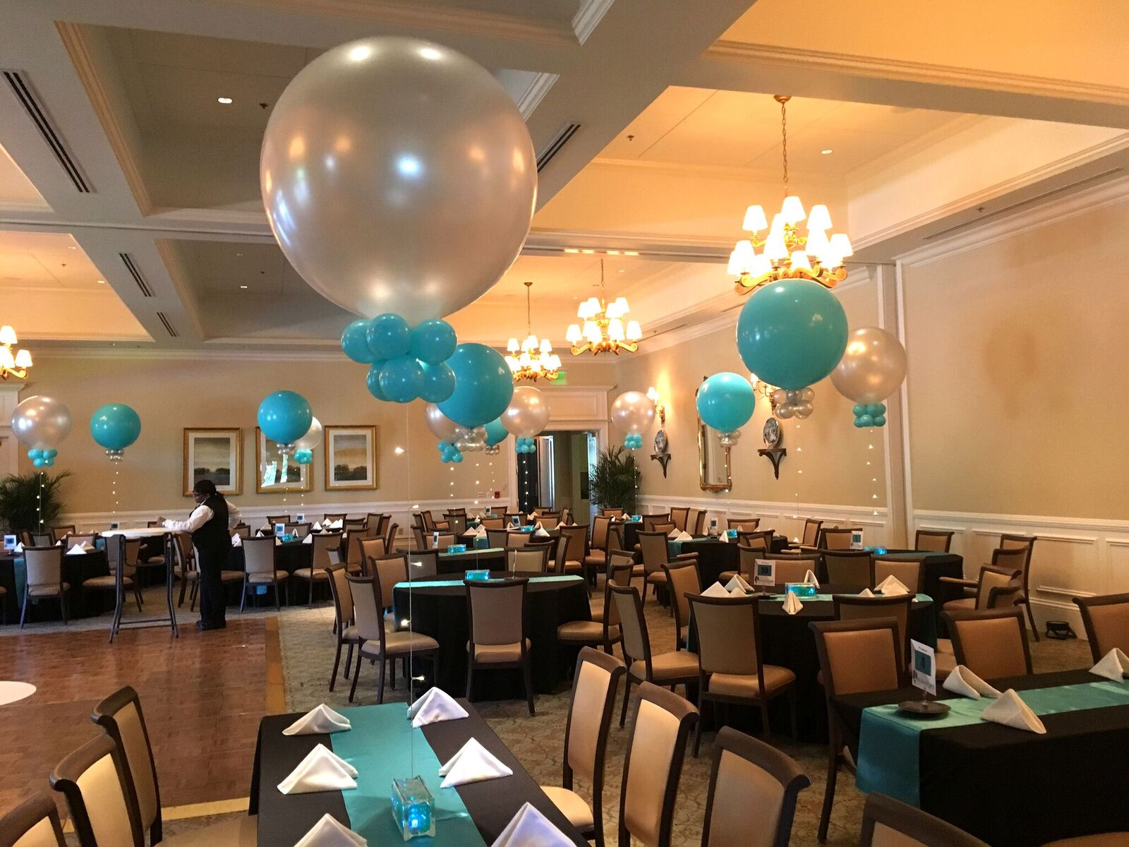 3-foot Round Balloons |starting at $25 each - With fabric ribbon +$10With lighted ribbon +$10With water bead base +$10With confetti +$20With tassel ribbon +$20If using multiple add-ons, the pricing per add-on will be reduced.