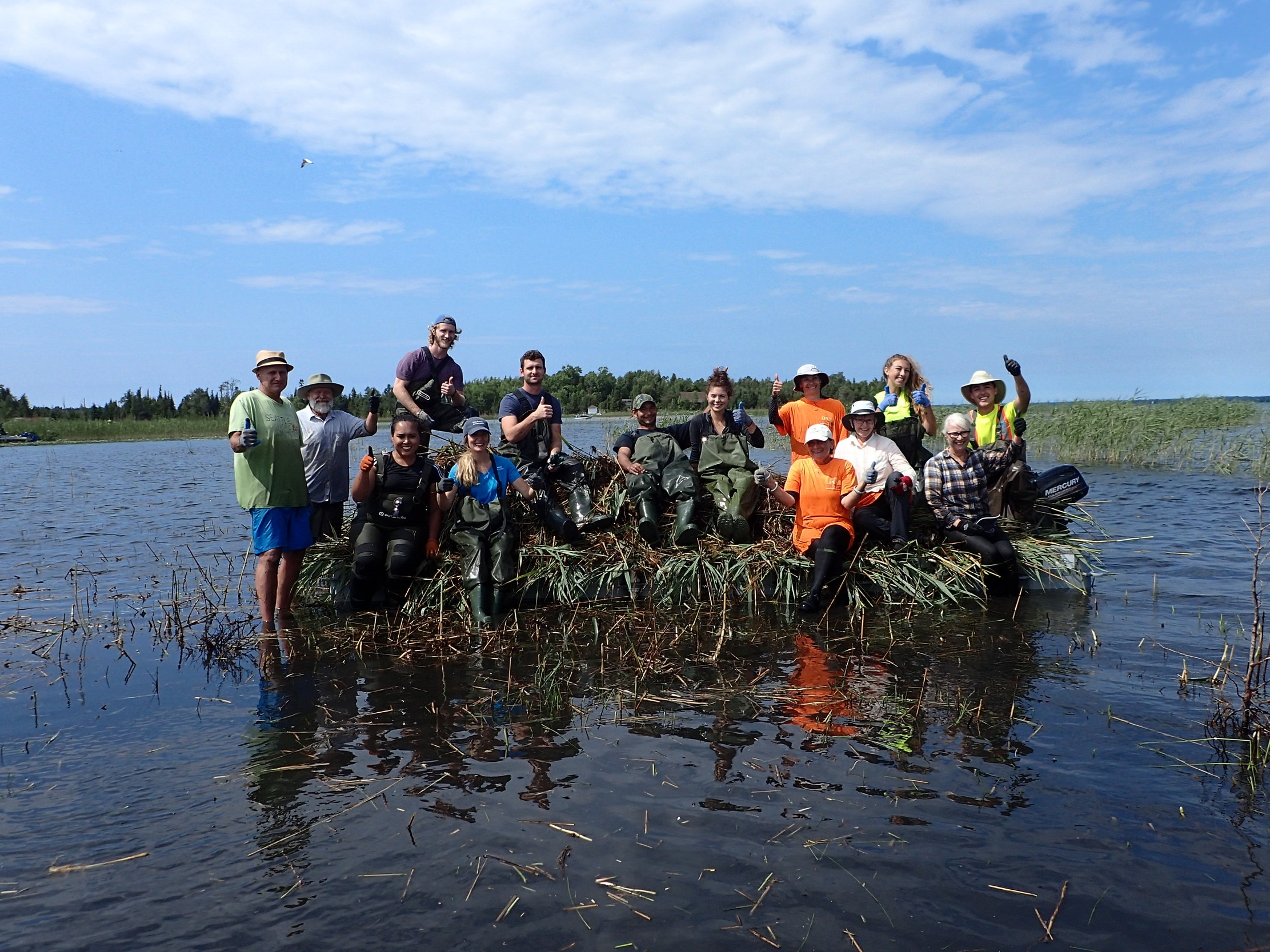 Volunteers from the Fighting Islands Community Group, Bruce Peninsula Biosphere ASsociation, the IPCC cutting crew, and the Saugeen Conservation Authority,