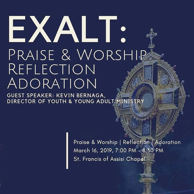 Join us for a night of praise and worship, reflection and adoration this Saturday, March 16 at 7pm in the chapel! Kevin Bernaga, Director of Youth and Young Adult Ministry at St Francis of Assisi Parish will be our guest speaker. For more information on the event, click on the link in our profile!