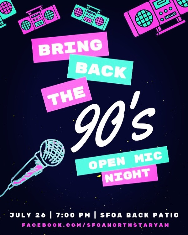 Join us for this month's 90's themed Cafe Soul Open Mic Night! #90smusic #welovethe90s