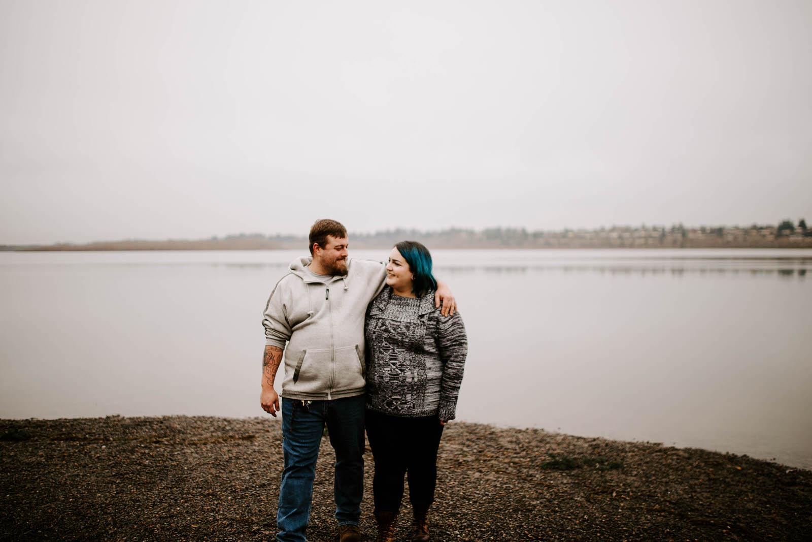 vancouver lake washington engagement session cloudy overcast winter jamie carle feminist portland photographer moody matt and ashley