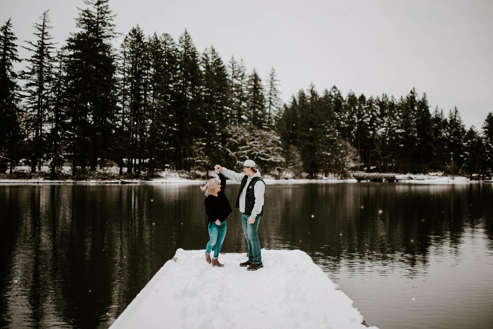 lacamas lake fallen leaf park camas washington jamie carle engagement session snow winter dock water vancouver feminist queer lgbtq wedding photographer