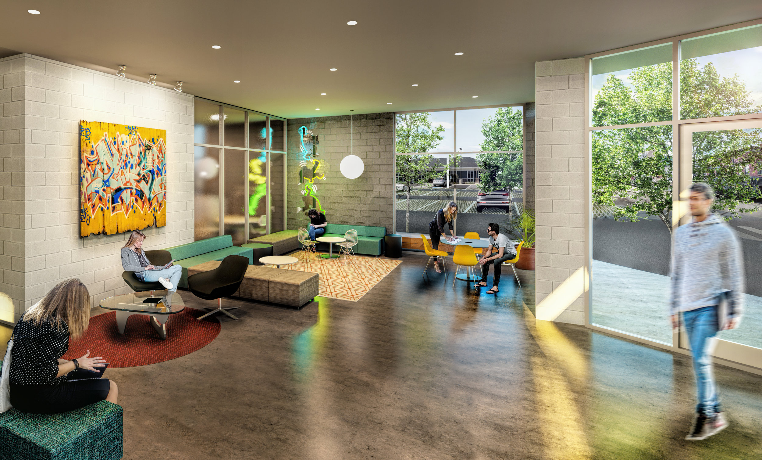 Lobby Photo Exterior Conway Block.  AMR Architects.  Salter Properties
