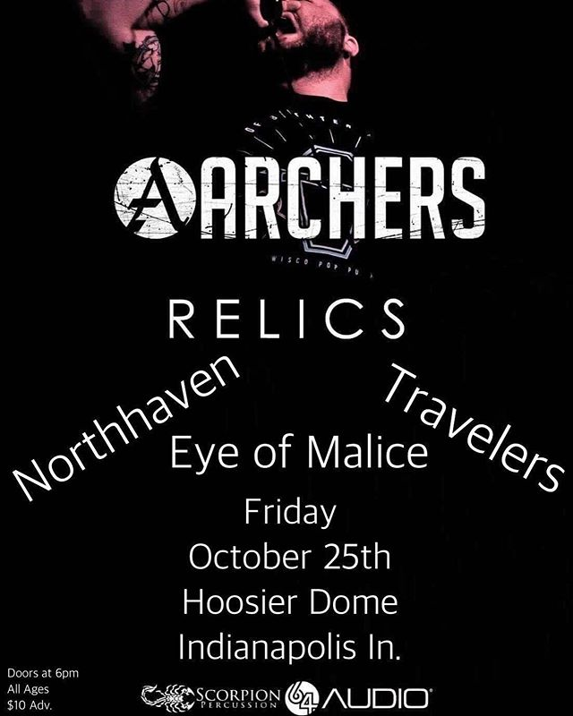 We're getting close to sharing the stage with our boys over at @relics_indiana @northavenofficial @eyeofmalice  and of course, @archersus  This one is gonna be an absolute rager you won't want to miss so hit us up for presales!  #metal #metalcore #djent #show #breakdowns #indymusic #supportlocals