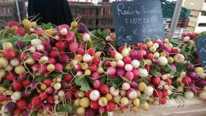 Radishes in a Breton market (image by author)