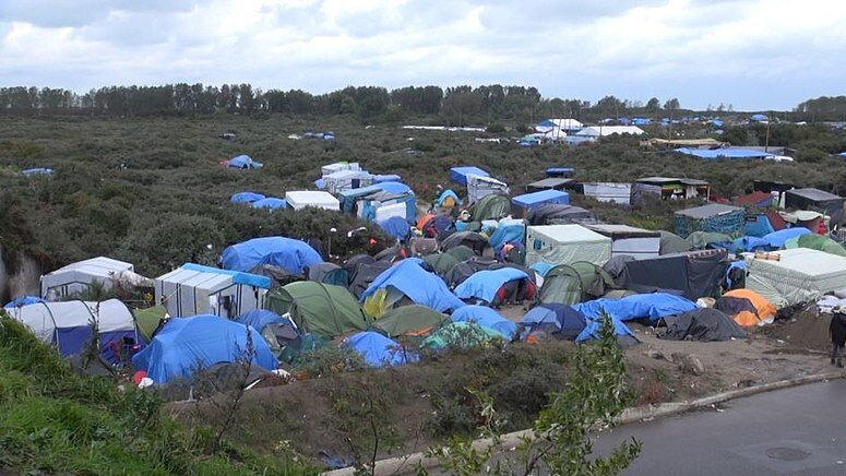 """Part of """"The Jungle"""" in Calais, France (2015)"""