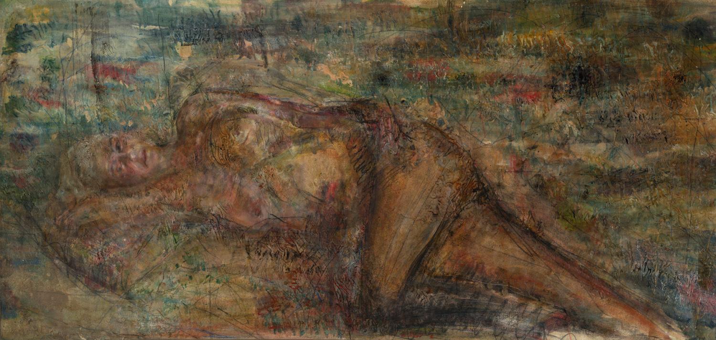 """גידי סמילנסקי, גילה, שמן על בד, 90X180 ס""""מ, 2013   צילמה: ליאת אלבלינג"""