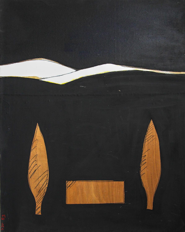 יובל דניאלי, קבורה, אקריליק על לוח עץ, 1983 | קרדיט צלם: תמי סואץ