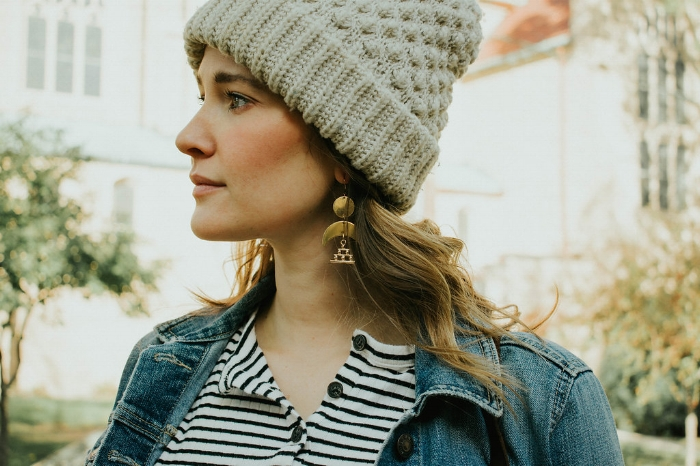 Rocking the  Pyramid Moon Dangles  with this casual fall outfit. Loving how versatile statement earrings can be!