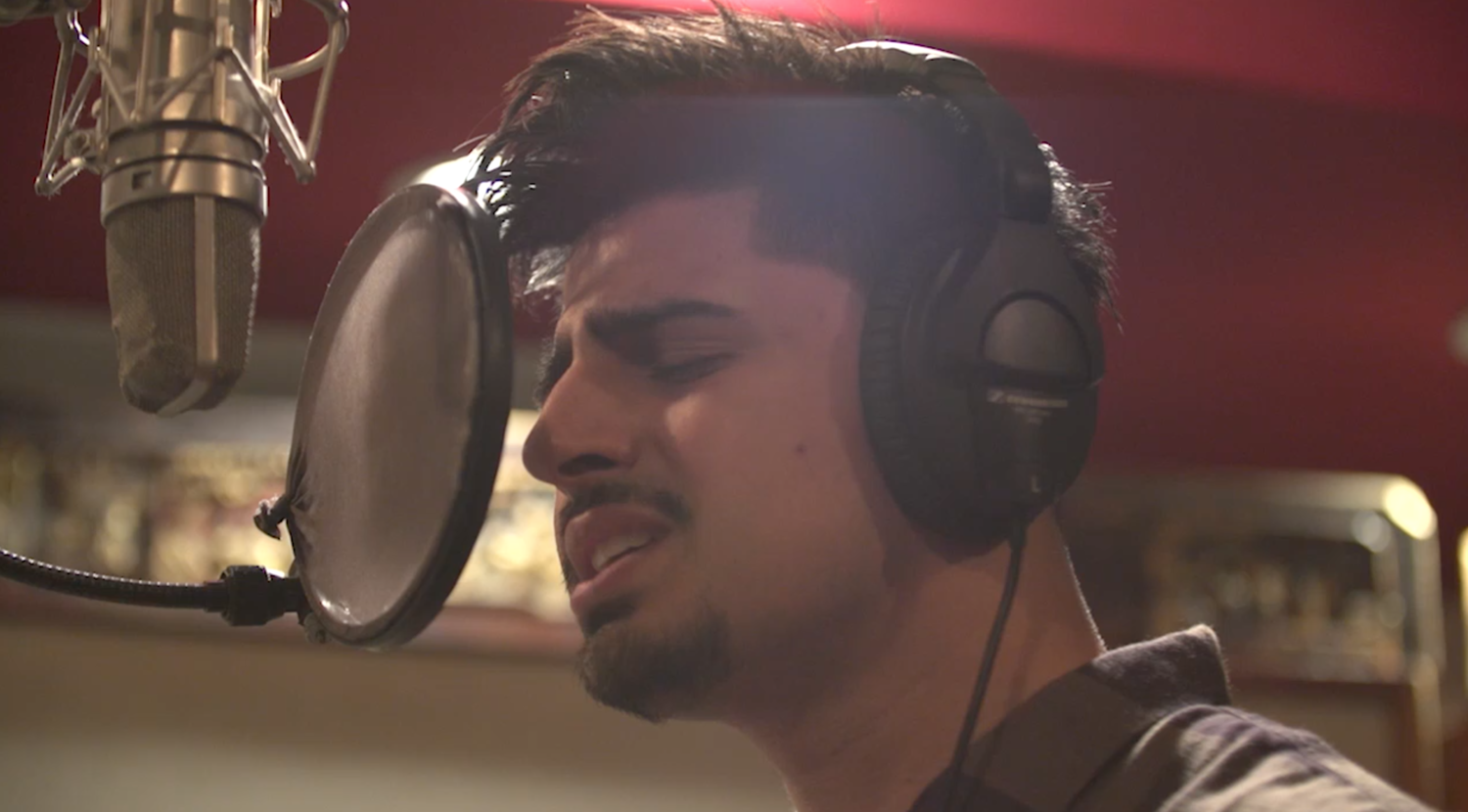 Singer-songwriter Alman Nusrat during filming at the Cutting Room studios in New York