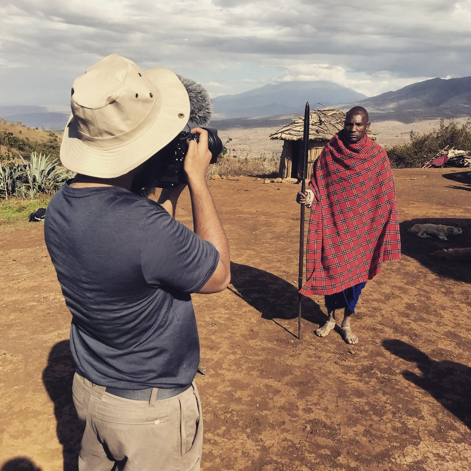 Jubair behind the lens filming with the Maasai