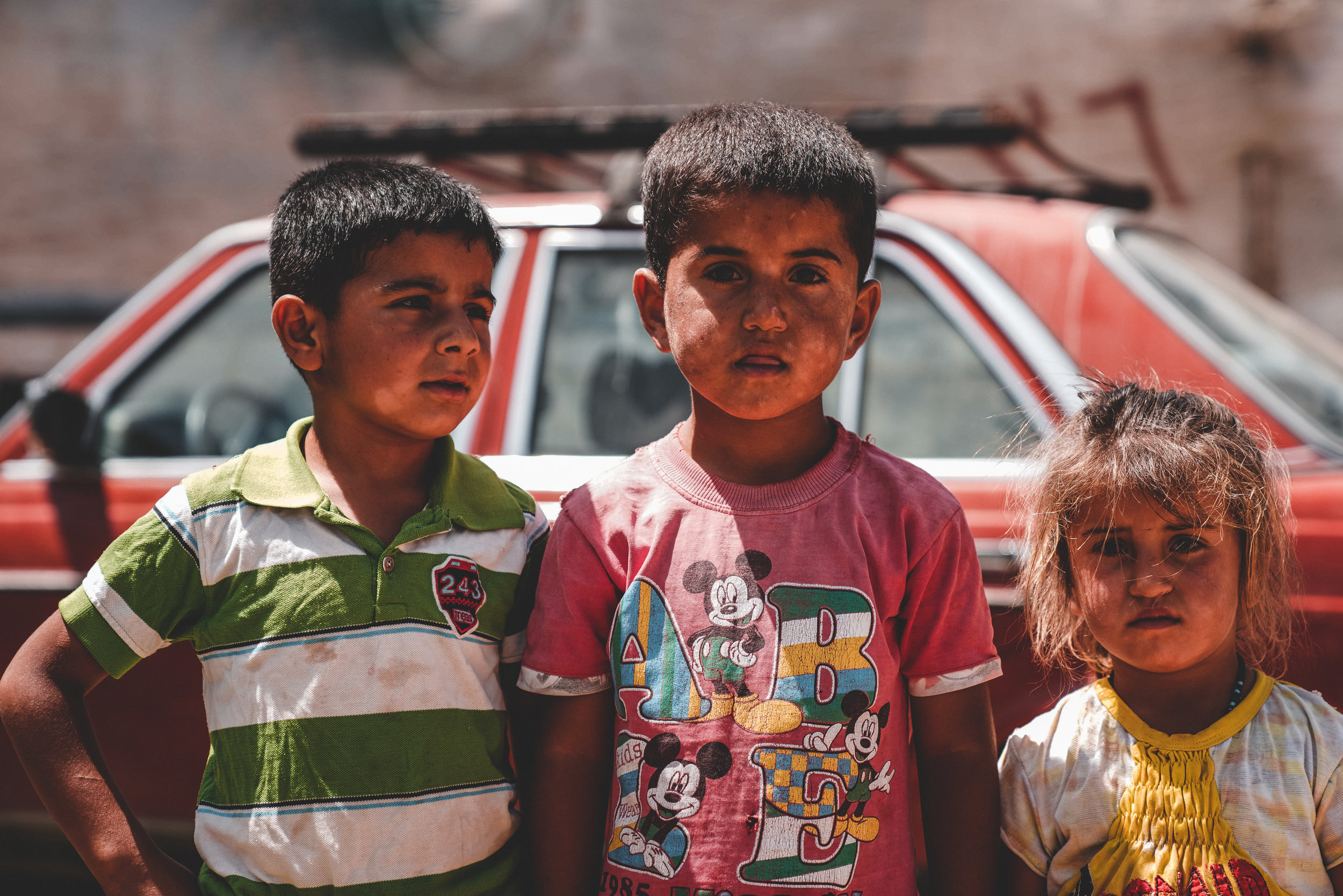 Syrian refugee children in a camp on the Lebanese border