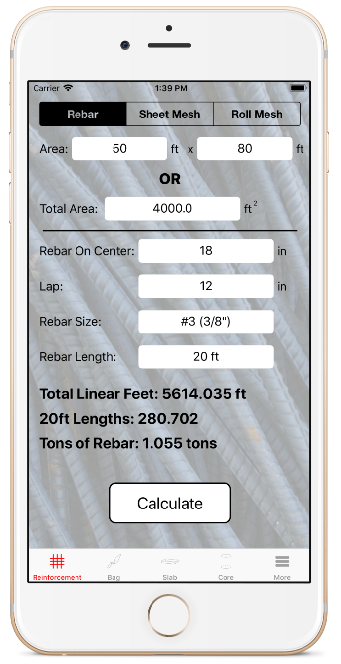 Reinforcement Calculator - You can quickly and easily calculate the amount of rebar, sheet mesh, or roll mesh you will need for your job. Unlike any other app on the App Store, Rebar Calc allows you to configure the lap or customize the length or size of the sheet and roll of reinforcement.