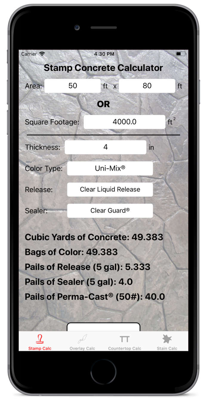 stamp Calculator - Quickly and easily calculate how many yards of concrete you will need for your next stamping job. The stamp calculator with also determine exactly how many bags of color, pails of release and pails of sealer you will need. Using Perma-Cast®? The stamp calculator has you covered.