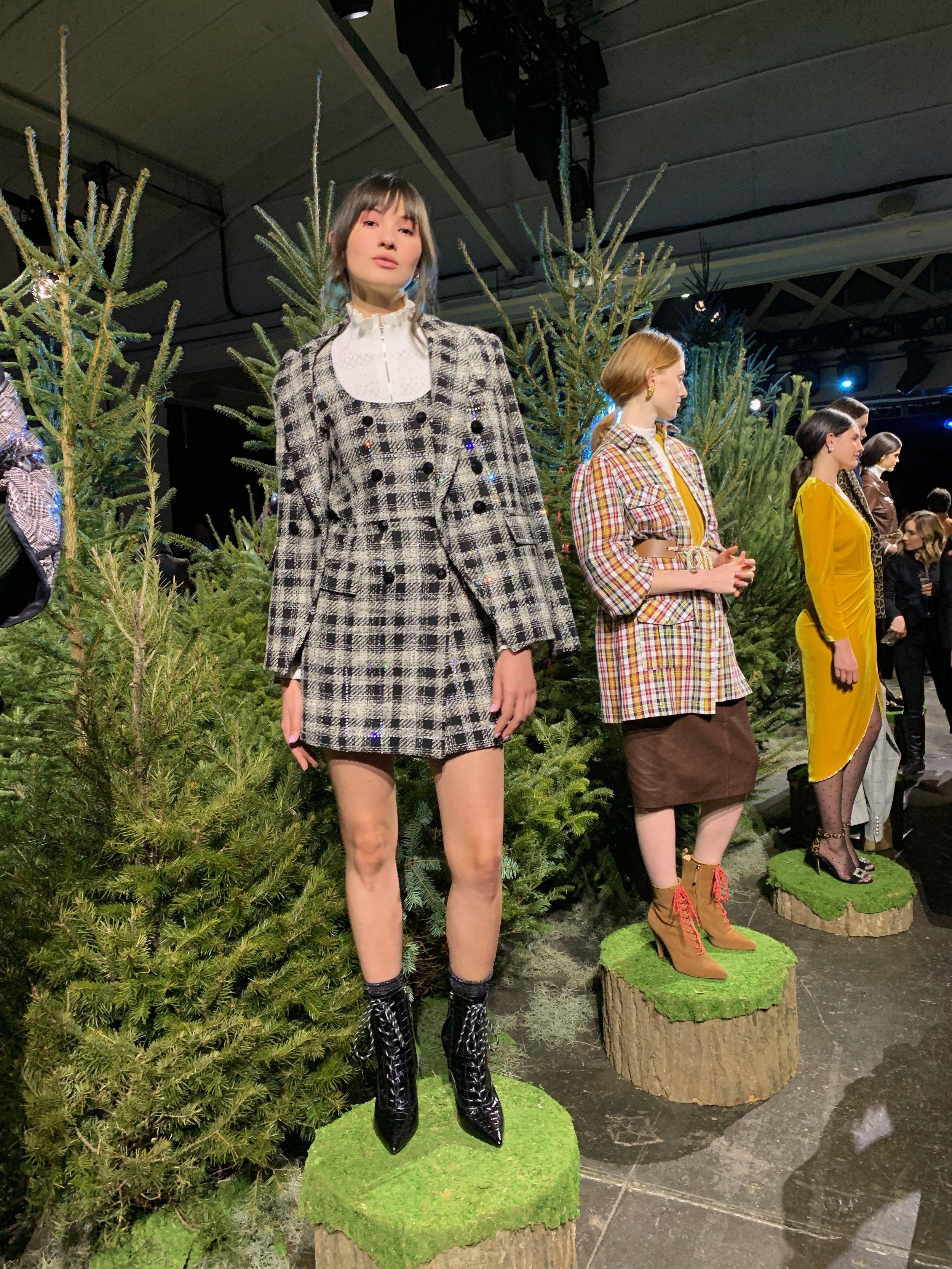 Model is wearing: Ivory SILVI Sweater, Rhinestone Plaid SONDRA Dress, Rhinestone Plaid MILLER Dickey Jacket, Black Paula Boots
