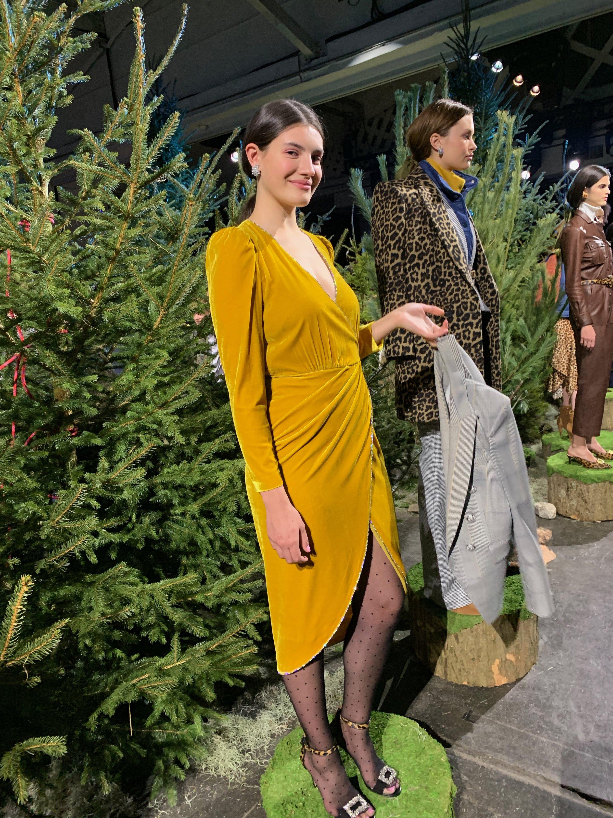 Model is wearing: Yellow ANTHEA Dress, Plaid MILLER Dickey Jacket, Black TARAN Mules