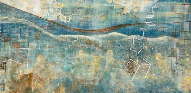 """The Beach    Acrylic on canvas, 18""""x36"""""""