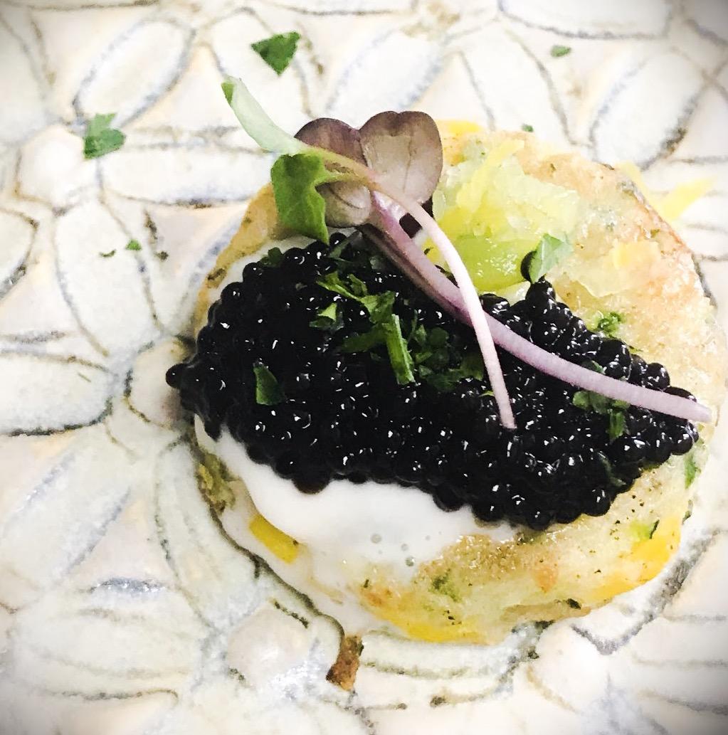 Choupique Caviar atop Corn Blinis