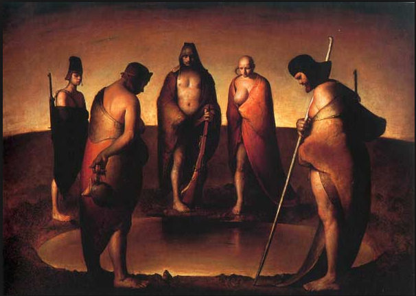 """Five Persons around Water Hole"" by Odd Nerdrum; A part of the permanent collection at NOMA"