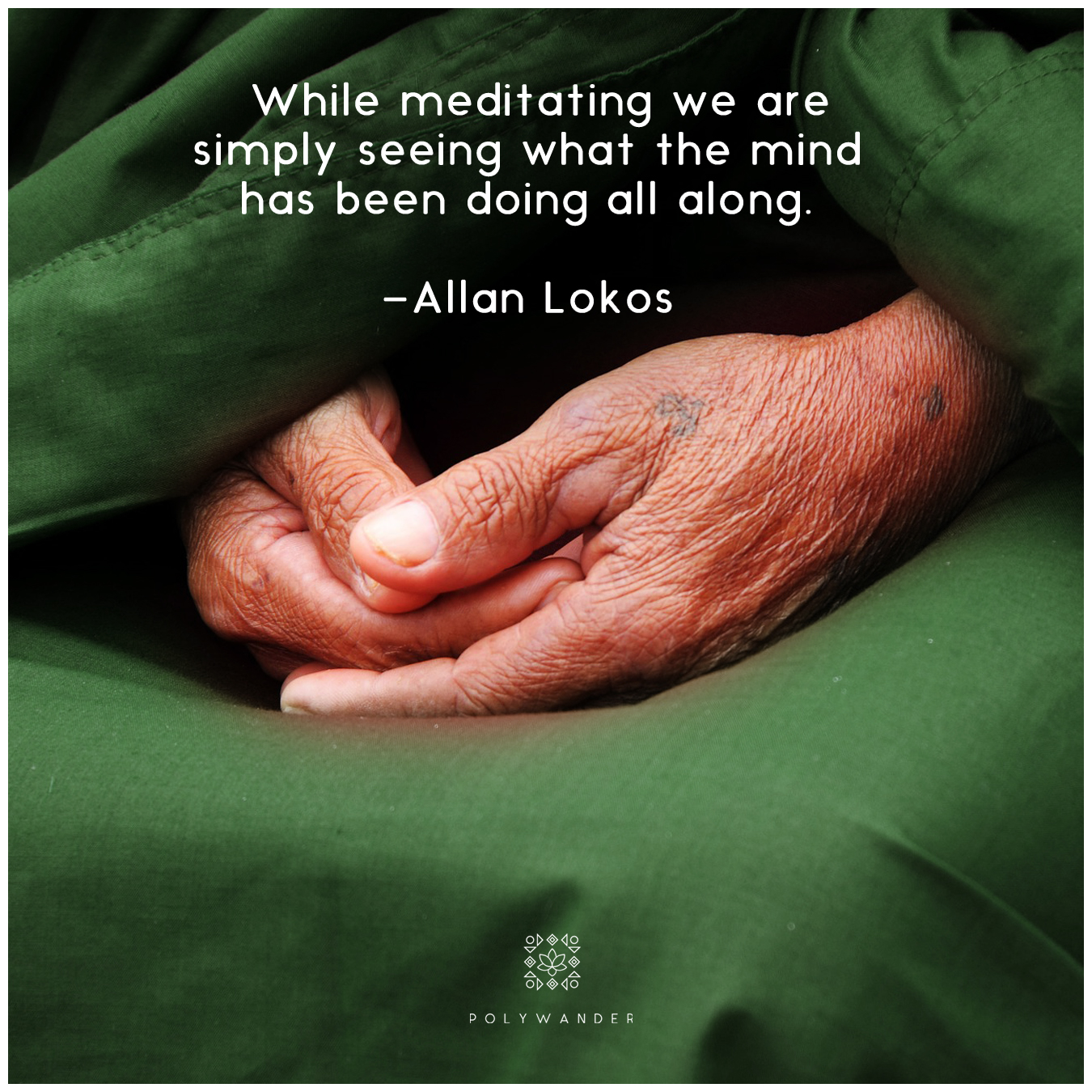 """While meditating we are simply seeing what the mind has been doing all along."" —Allan Lokos"