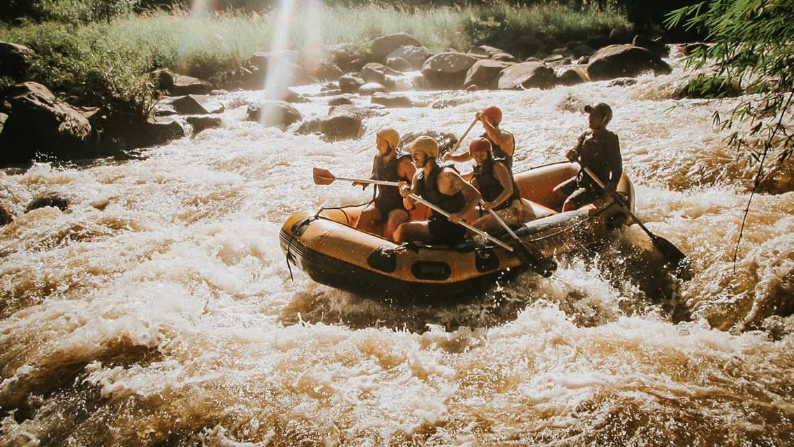 White-water rafting down the river
