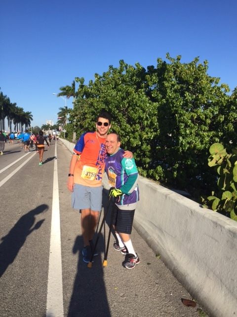 JB with his son Maurice in the Miami Marathon