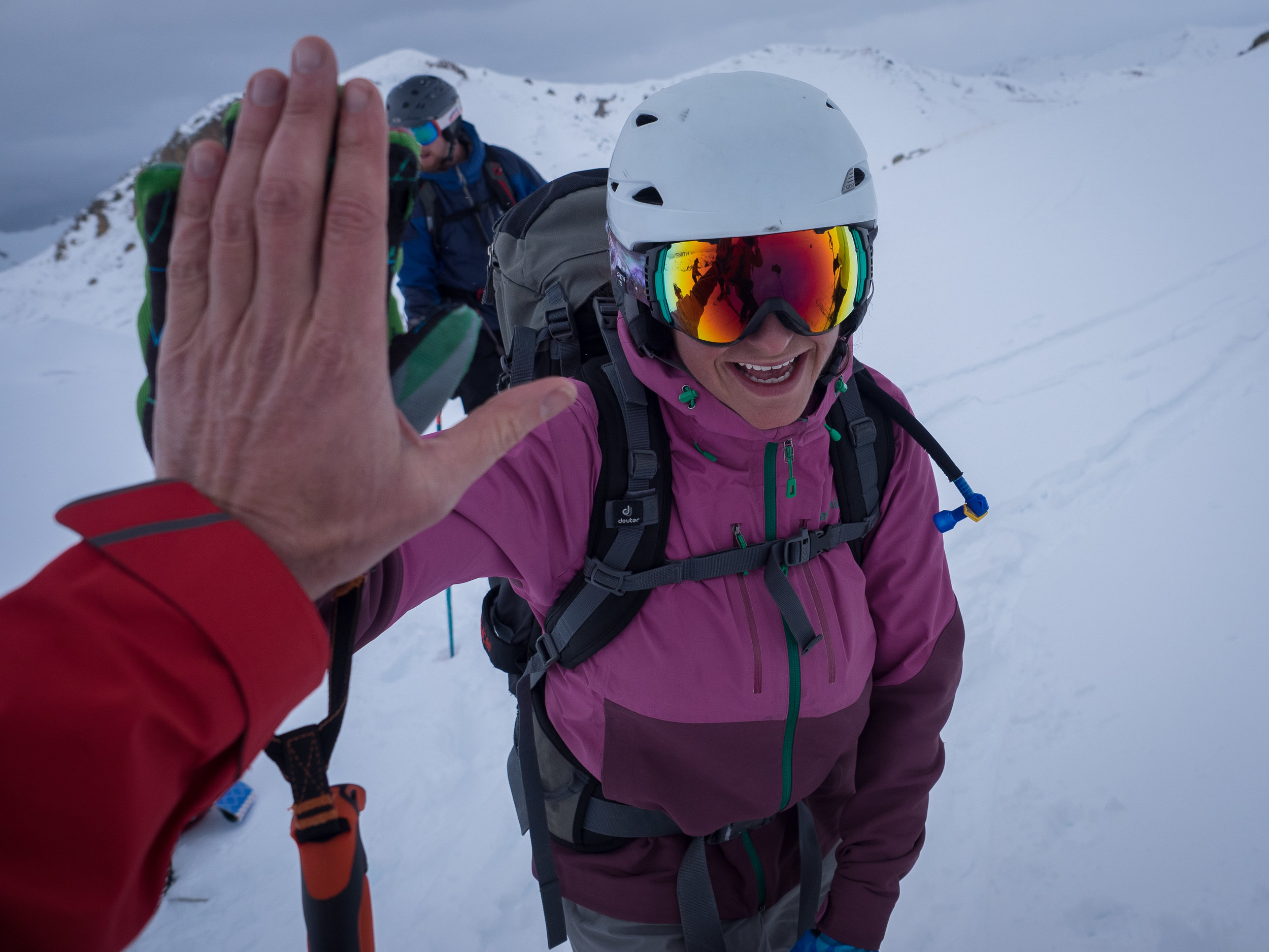 A high five for a job well done-- Backcountry Skiing in the San Juan Mountains