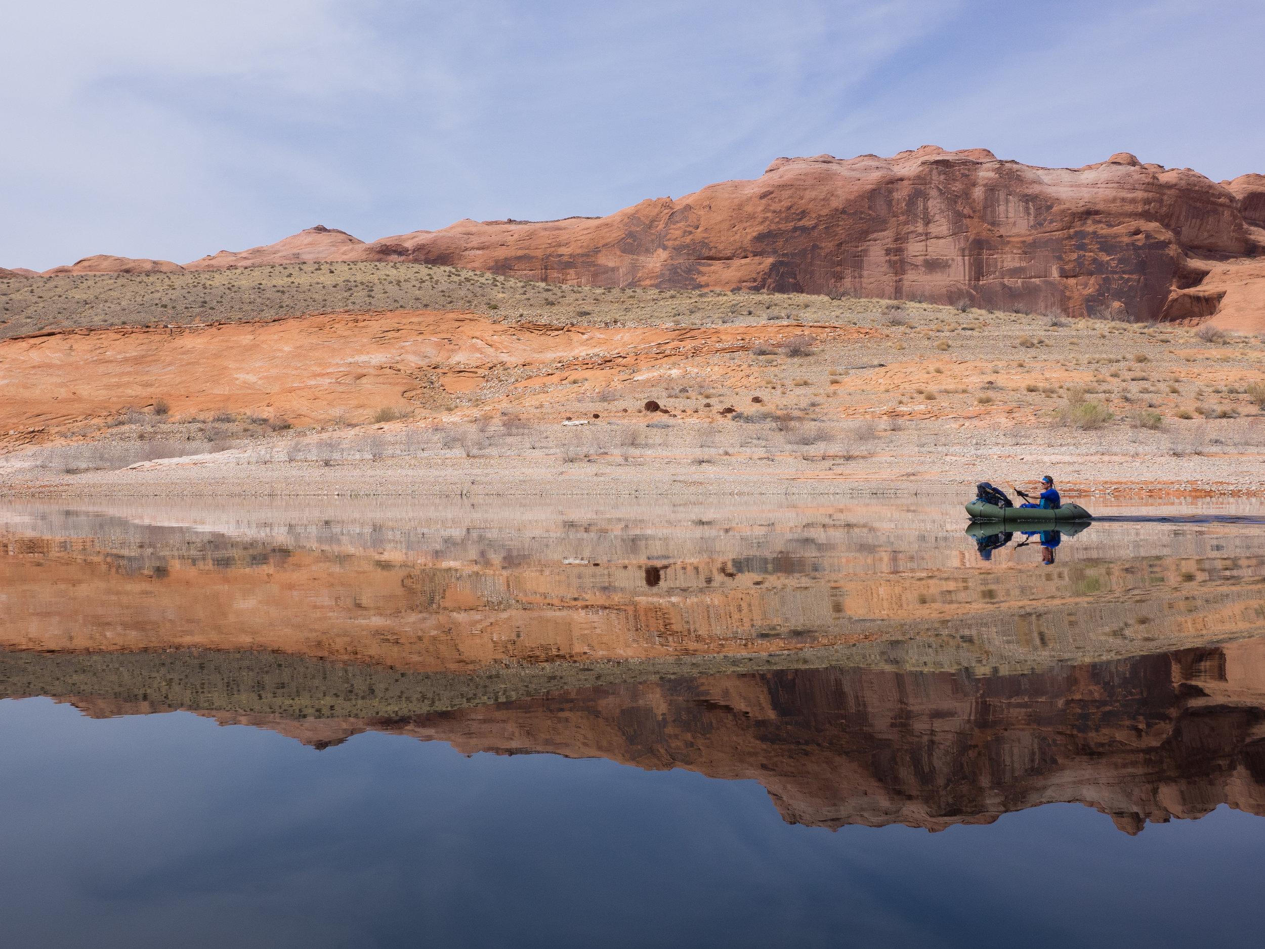 Paddling on a mirror--Lake Powell