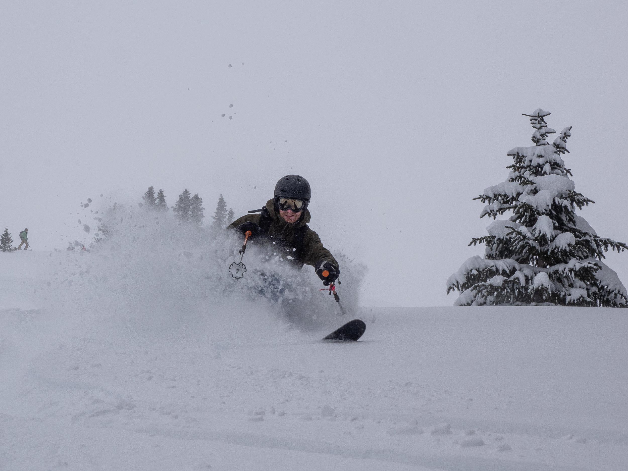 Sam demonstrates his snow art talents.