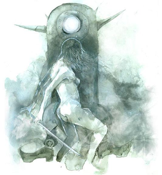 Shoki vs Bot. Watercolor and Digital. 2007