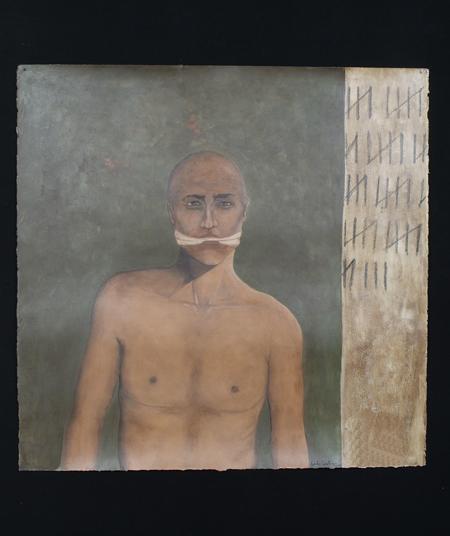 "Silencio Voluntario, 2000, acrylic/paper 42""x42"""