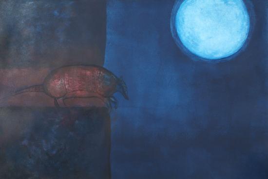 """La Noche Pariendo Cuzucos, 2004,acrylic 42""""x35"""""""