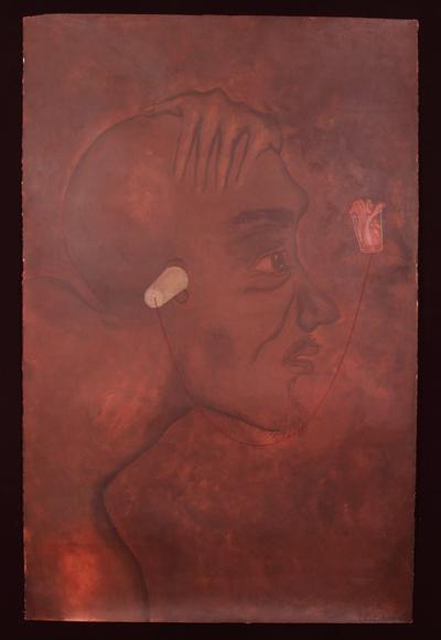 "No Te Escucho, 2000, acrylic/paper 65""x42"""