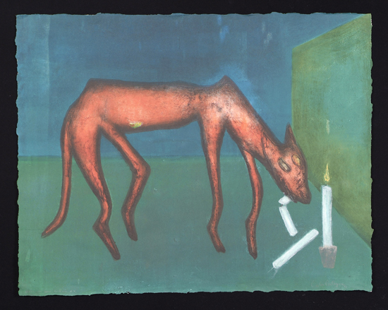 "When the Dogs Ate Candles, 1993 Monoprint 22""x30"""