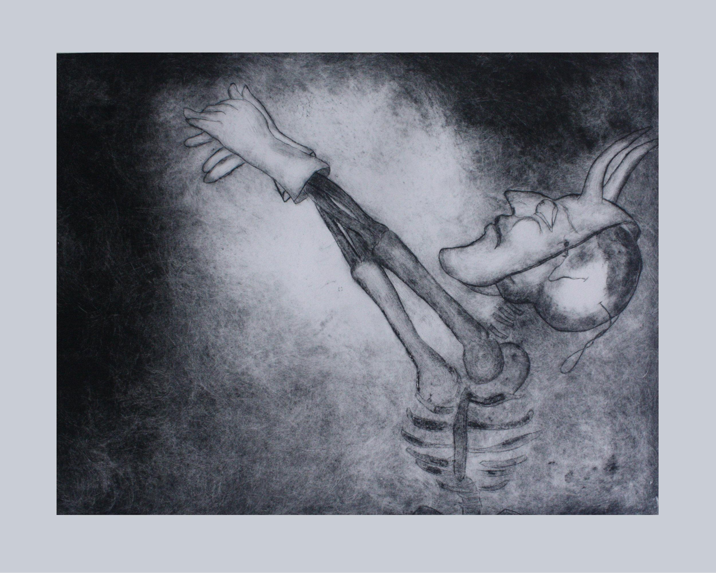 "Sombras, 2014, Monoprint E.V. 22""x30"""