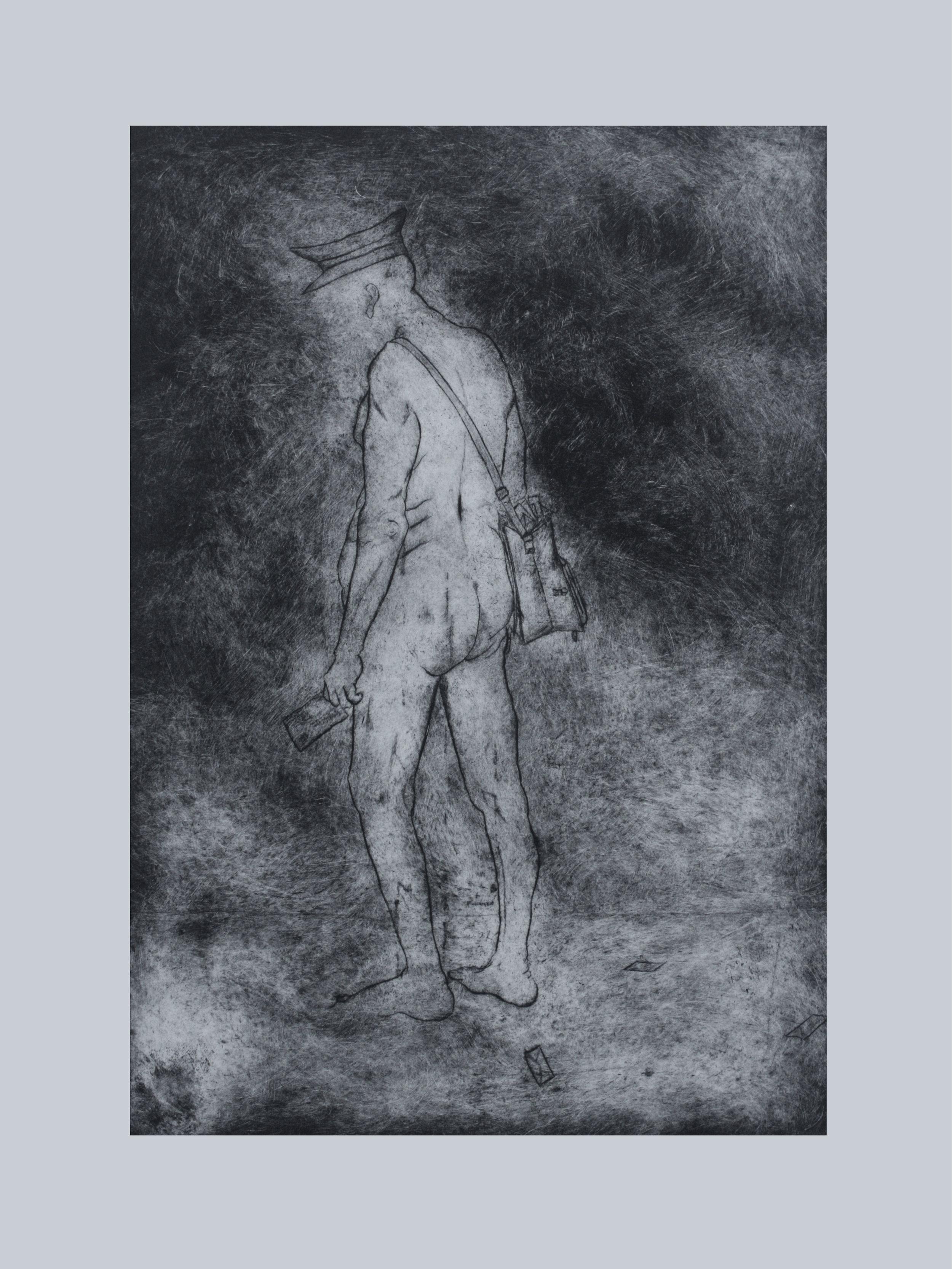 """Fantasmas del Pasado, 2014, monoprint 30""""x22"""""""