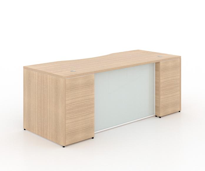 "RECTANGULAR DESK WITH CURVE GLASS MODESTY PANEL+ (1) BBF PEDESTAL - Size: 66'' W x 30'' D x 29"" H + 2 drawers, 1 Filling PedestalOriginal price: $1,170   Sale price: $725"