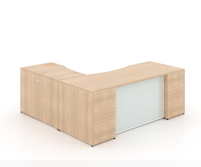 "l-sHAPED DESK WITH CURVE gLASS MODESTY PANEL+ (1) BBF PEDESTAL - Size: 66'' W x 30'' D x 29"" H + 42'' W x 24"" D (Return) + 2 drawers, 1 Filling Pedestal.Original price: $1,530 | Sale price: $919"