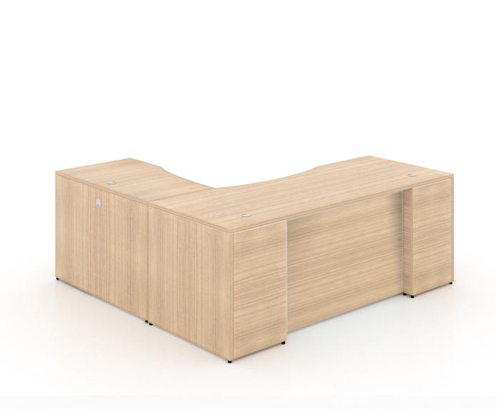 "l-sHAPED DESK WITH CURVE LAMINATE MODESTY PANEL+ (1) BBF PEDESTAL - Size: 66'' W x 30'' D x 29"" H + 42'' W x 24"" D (Return) + 2 drawers, 1 Filling Pedestal.Original price: $1,315   Sale price: $815"