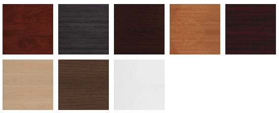 Cherry, Coastal Gray, Espresso, Honey, Mahogany, Maple, Modern Walnut, White