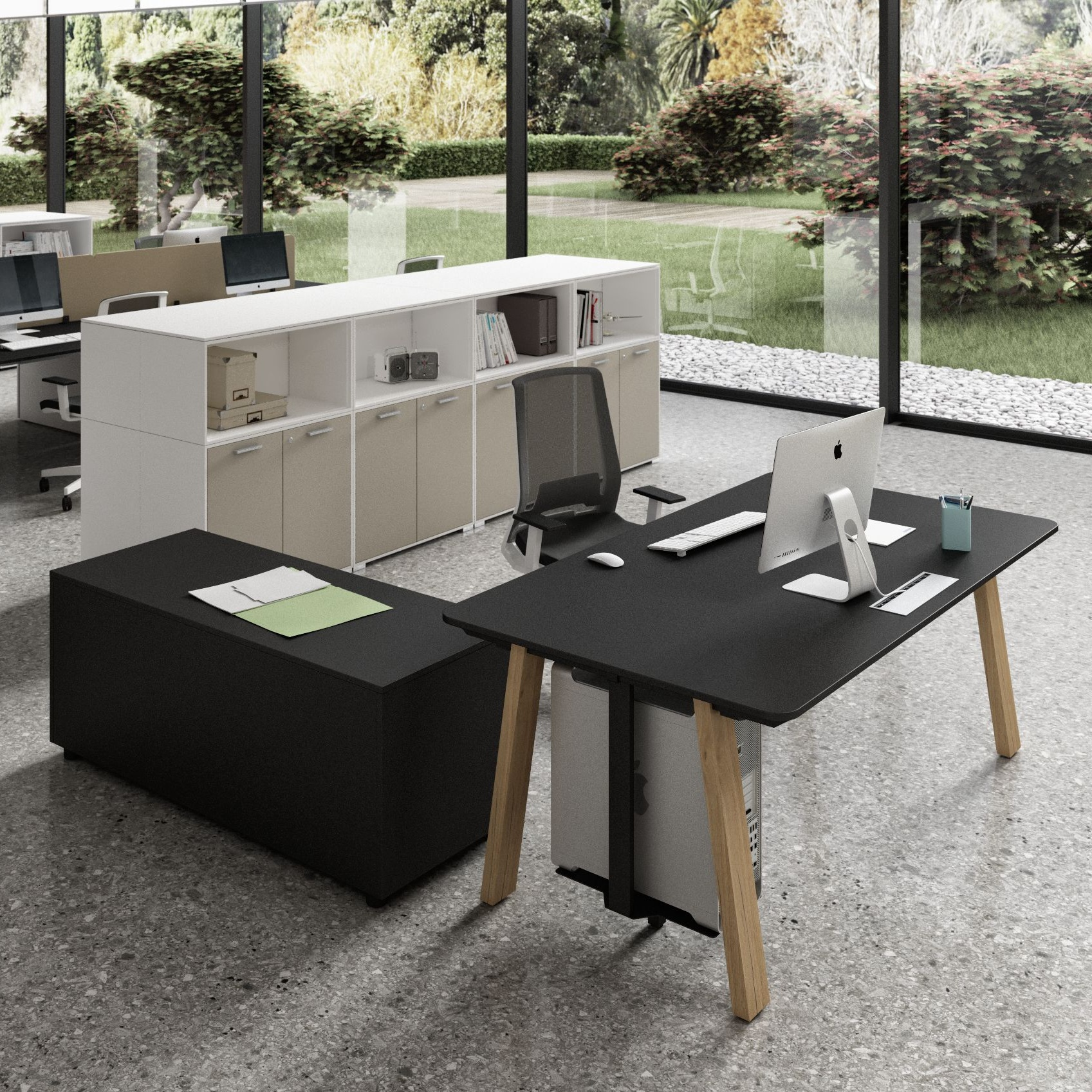 A little bit country, a little bit rock & roll. - Intelligent, fresh, wholesome workstations that make your spaces sing. Large tops for team tasks, protection and privacy for individual tasks, earthy textured finishes and easy to handle communication systems that create harmony and motivation.  Starting at: $ 1,247