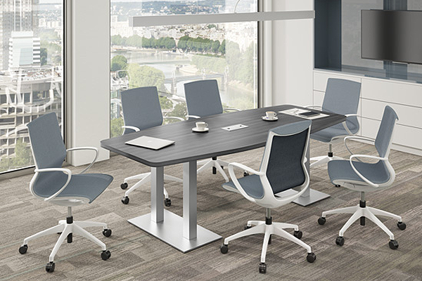 "Brushed aluminum base | Conference Table UOF188' Feet (for 6 People) - Size: 95'' W x 44"" D x 29"" HOriginal price: $ 1,765 
