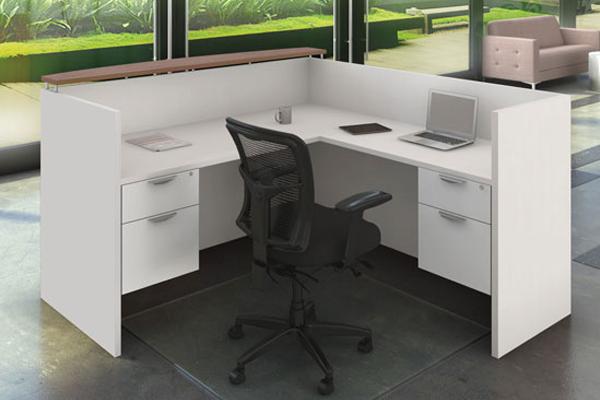 "L- Shape Reception Desk | UOF97 - START-UP SERIESCorner Transactional Laminate Top + (2) Hanging Pedestal - Size: 71'' W x 78"" D x 43"" H Original Price: $1,836 | SALE: $ 1,019"