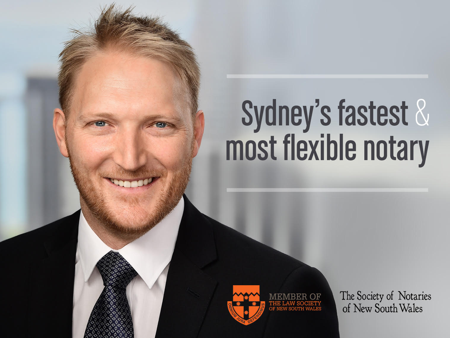 Hugh is available  on short notice  including weekends as Sydney's fastest and most flexible notary.