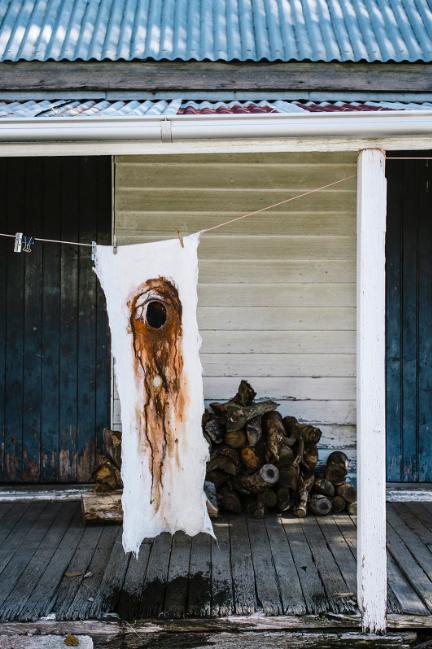 """Ochre Soul"" - July 2018, Merino wool + hand-painted earth pigment"