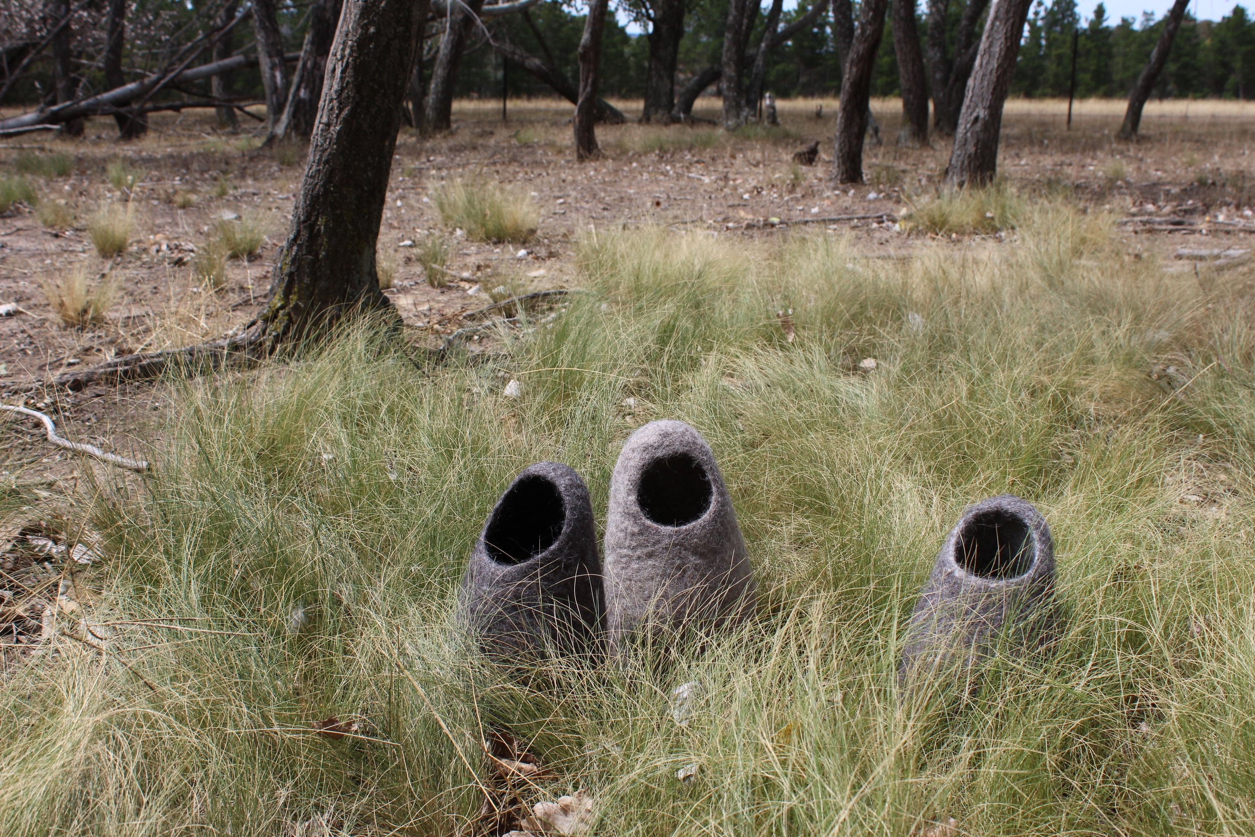 The Whisperers - Cross-bred wool vessels, exhibited at 'Dust & Gums', The Corner Store Gallery Orange