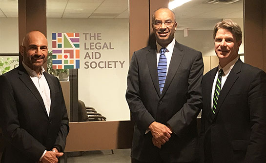 From left: Mark Vecchio, Venable Partner; Seymour W. James, Attorney-in-Chief at The Legal Aid Society; and Matthew T. McLaughlin, Partner-in-Charge, Venable's NY Office.