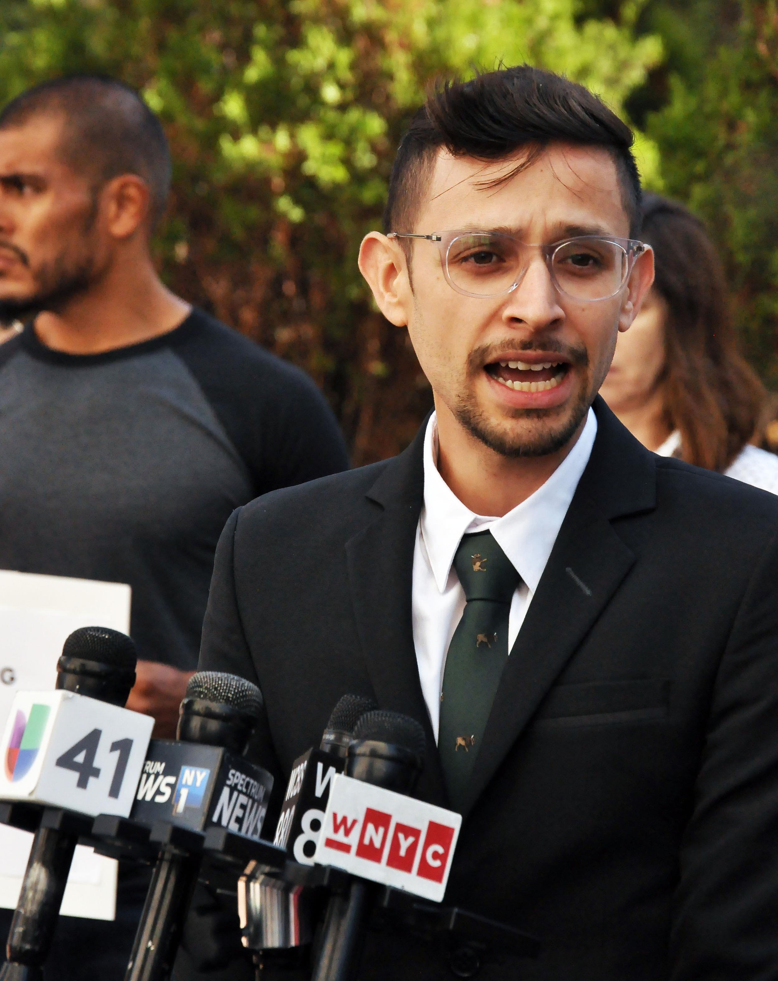 Anthony Posada of our Community Justice Unit speaks out against the NYPD's Gang Databse at a recent rally