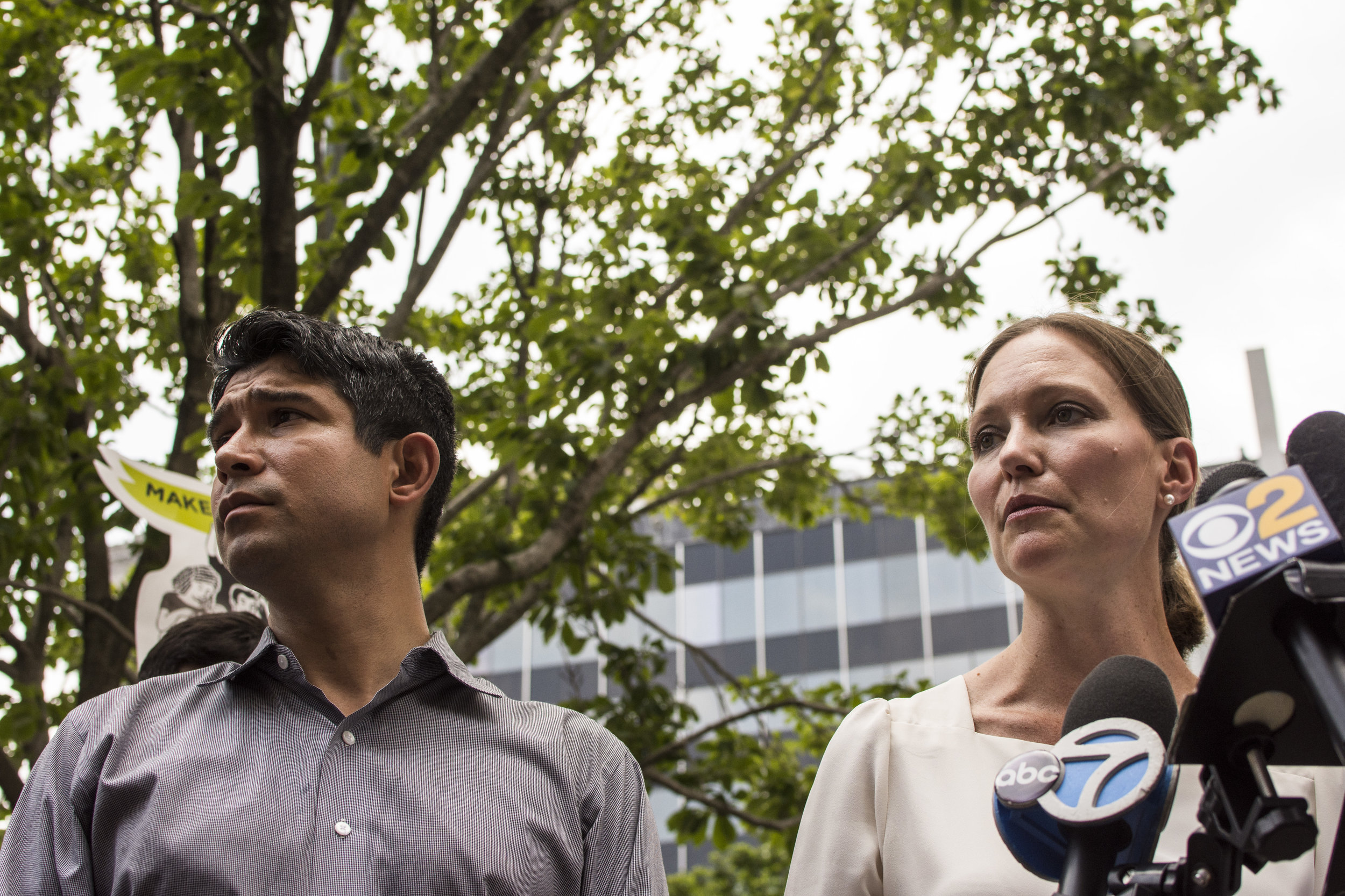 - Council Member Carlos Menchaca with Legal Aid attorney Jennifer Williams