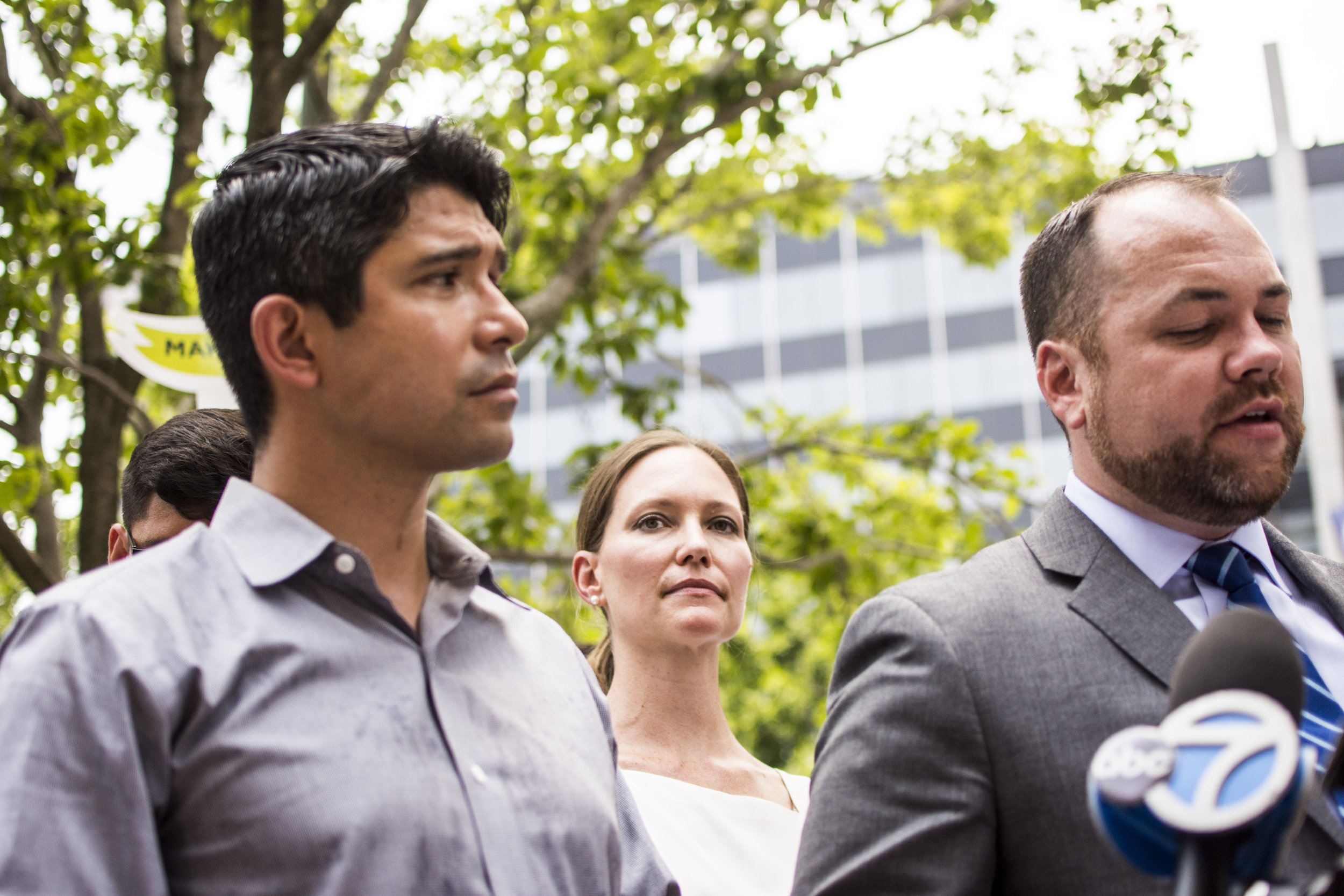 Williams, with Council Member Menchaca (left) and NYC Council Speaker Cory Johnson (right)